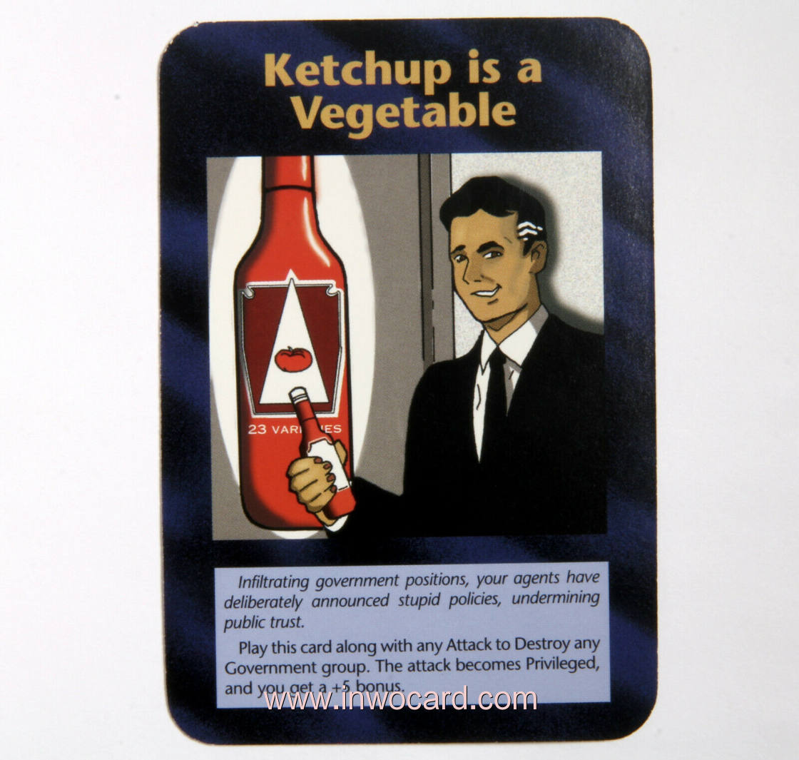 Illuminati Card:ketchup is a vegetable limited